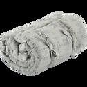 Édredon en polyester, lin et coton gris 100x180cm-CHI