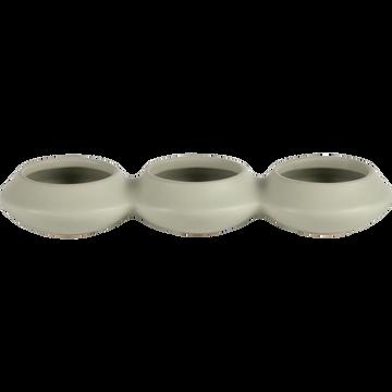 Pot avec trois ouvertures en grès vert olivier-Sifnos