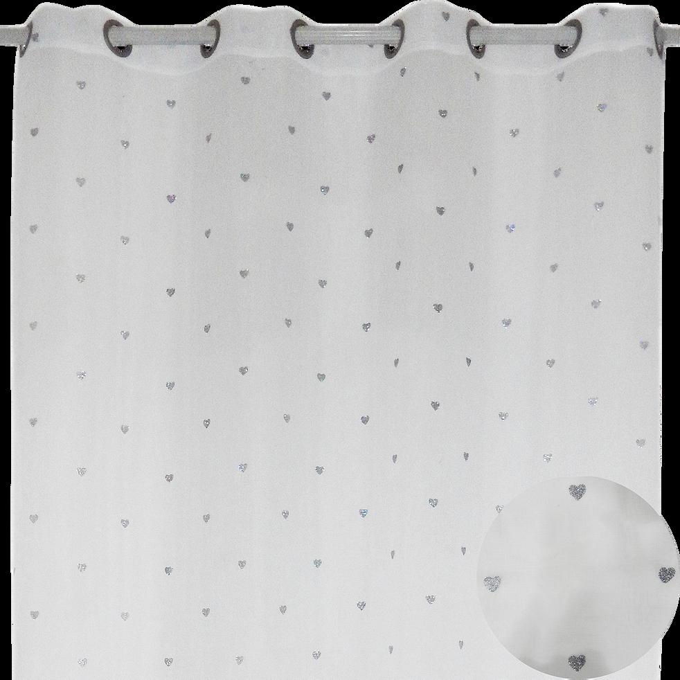 Voilage à oeillets 140x240cm Argent motifs cœurs pailletés pour enfant-LILI