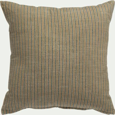Coussin khadi en coton - gris et jaune 45x45cm-KHADI