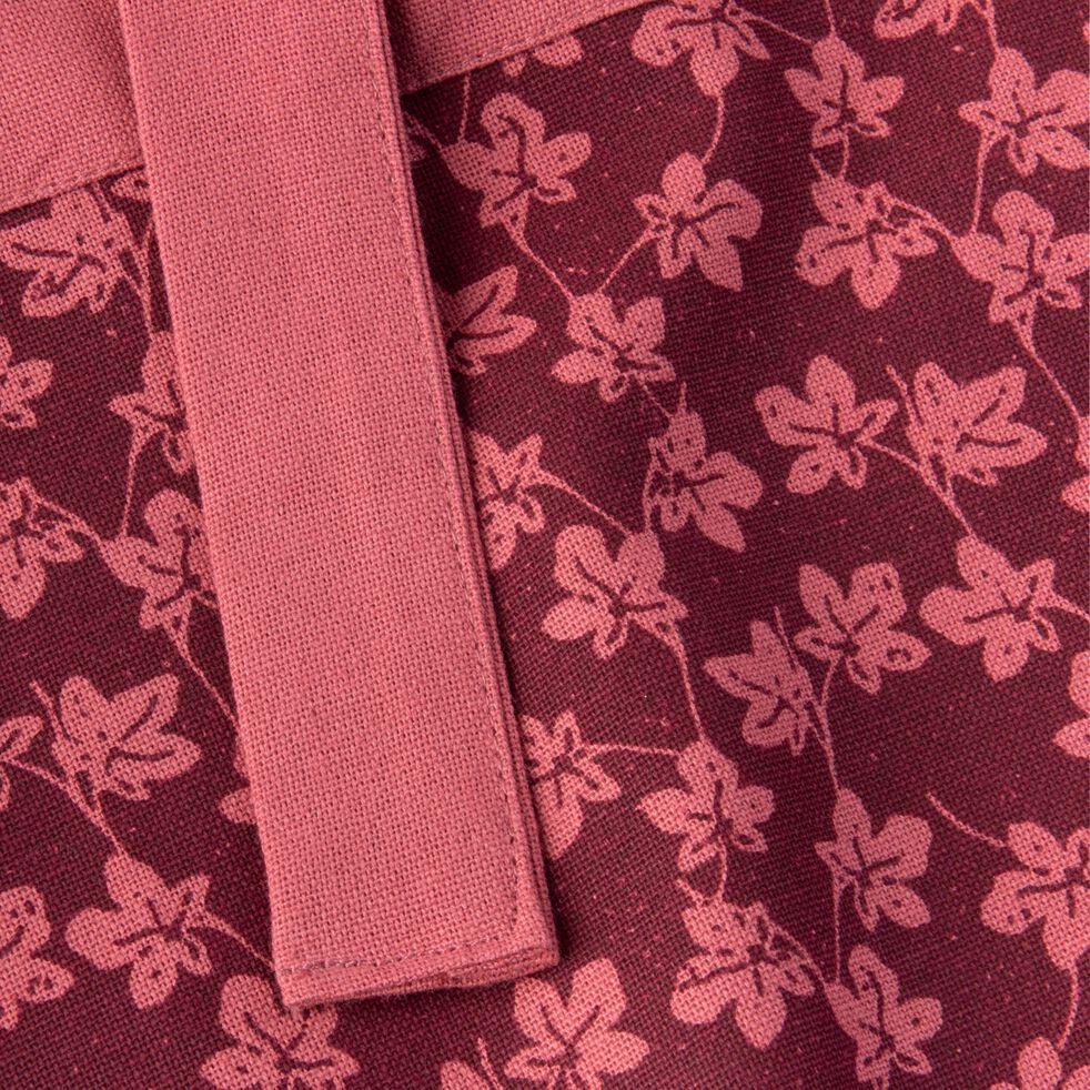 Tablier à motifs figuier en coton rouge-FIGUIER