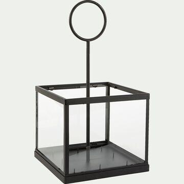 Photophore pour 8 bougies en métal et verre - noir L26xl26xH48cm-Fakir