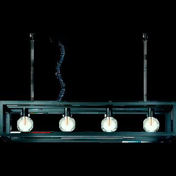 Suspension décorative 4 lumières en acier noir mat L120cm-ORIS