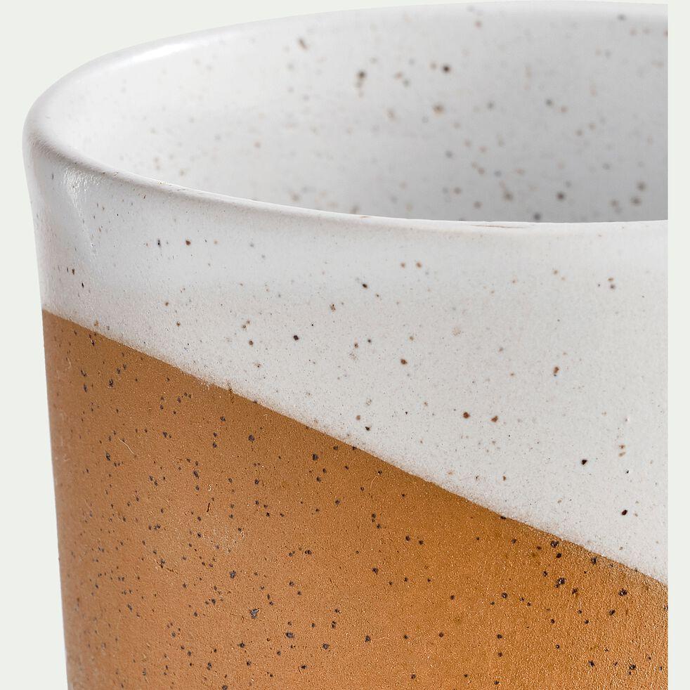 Mug en faïence blanc et marron 47cl-TUP