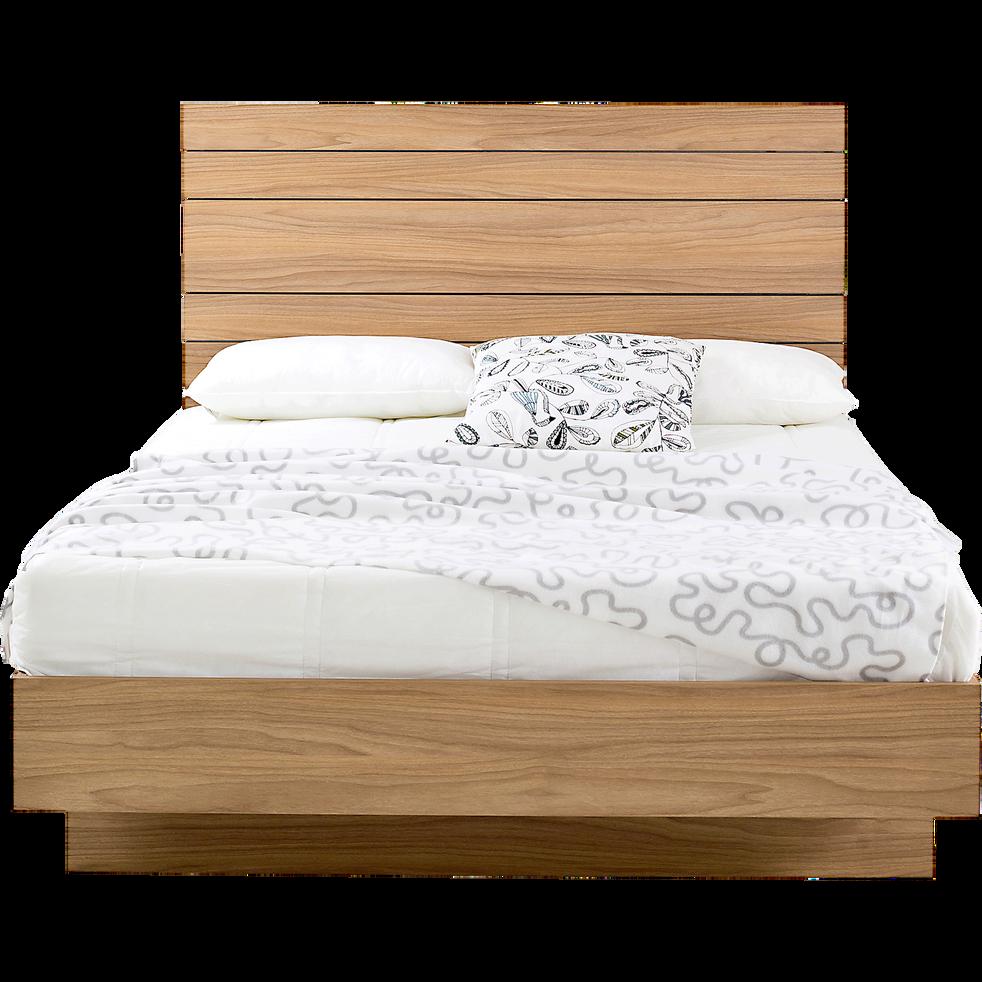 lit 2 places avec t te de lit et tiroir effet bois vieilli 160x200 cm luz 160x200 cm. Black Bedroom Furniture Sets. Home Design Ideas