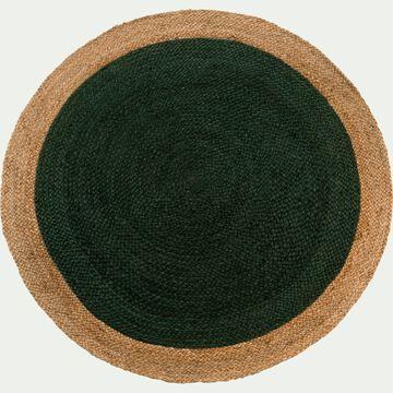 Tapis rond en jute - vert cèdre D90cm-NAÏA