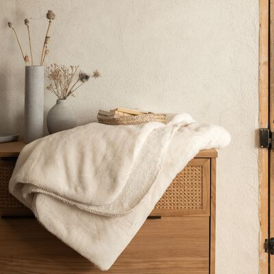 Plaid imitation fourrure - blanc ventoux 130x170cm-MARIUS