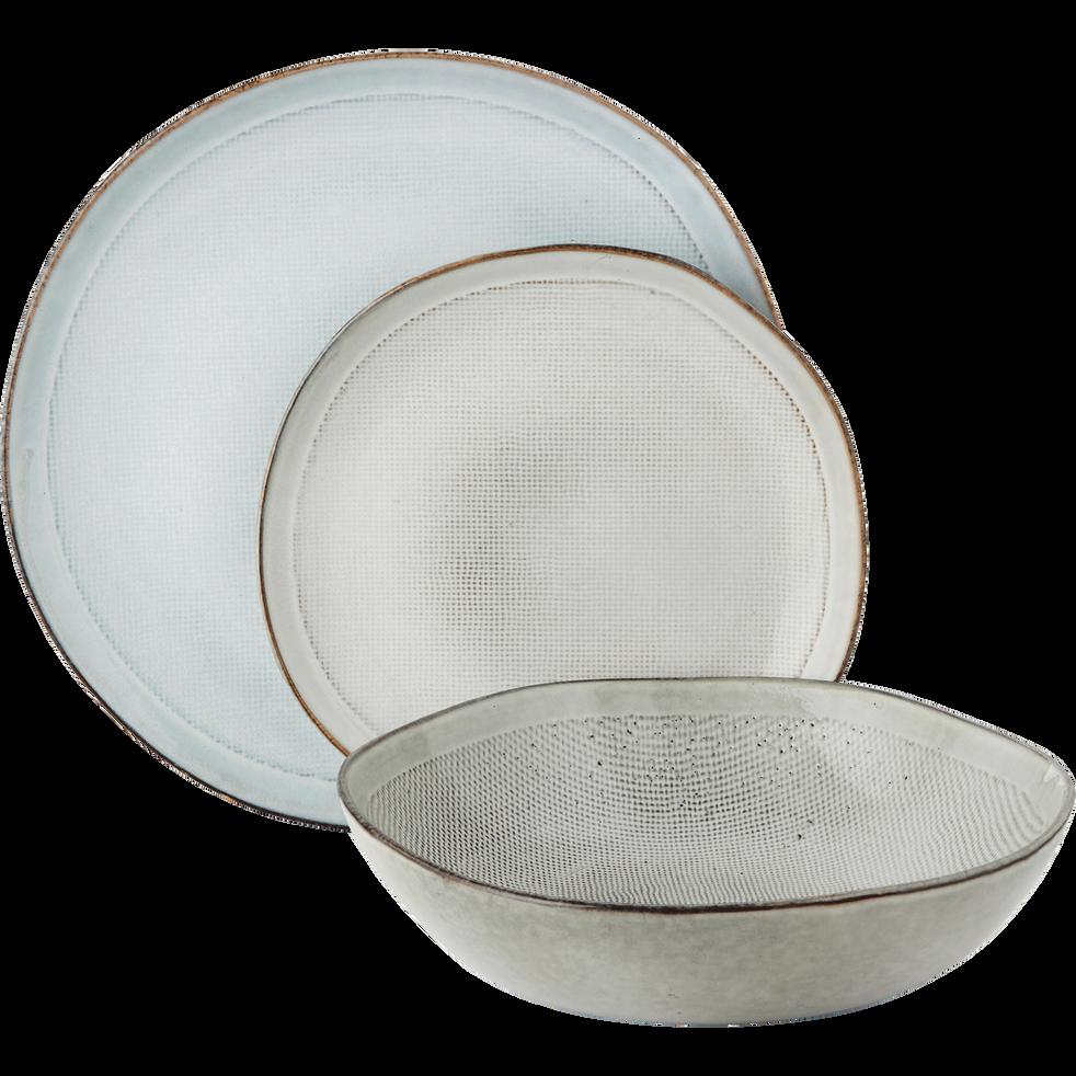 Assiette plate en grès blanc D25,6cm-ALONG