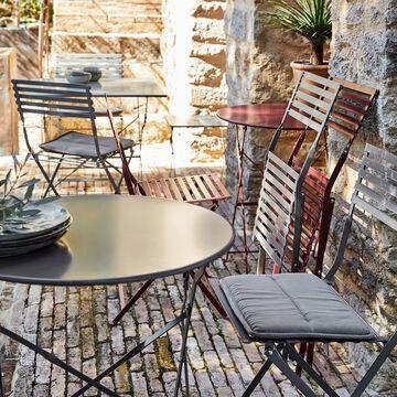 cervione ensemble table ronde 2 places et chaises de jardin pliante en acier plusieurs coloris
