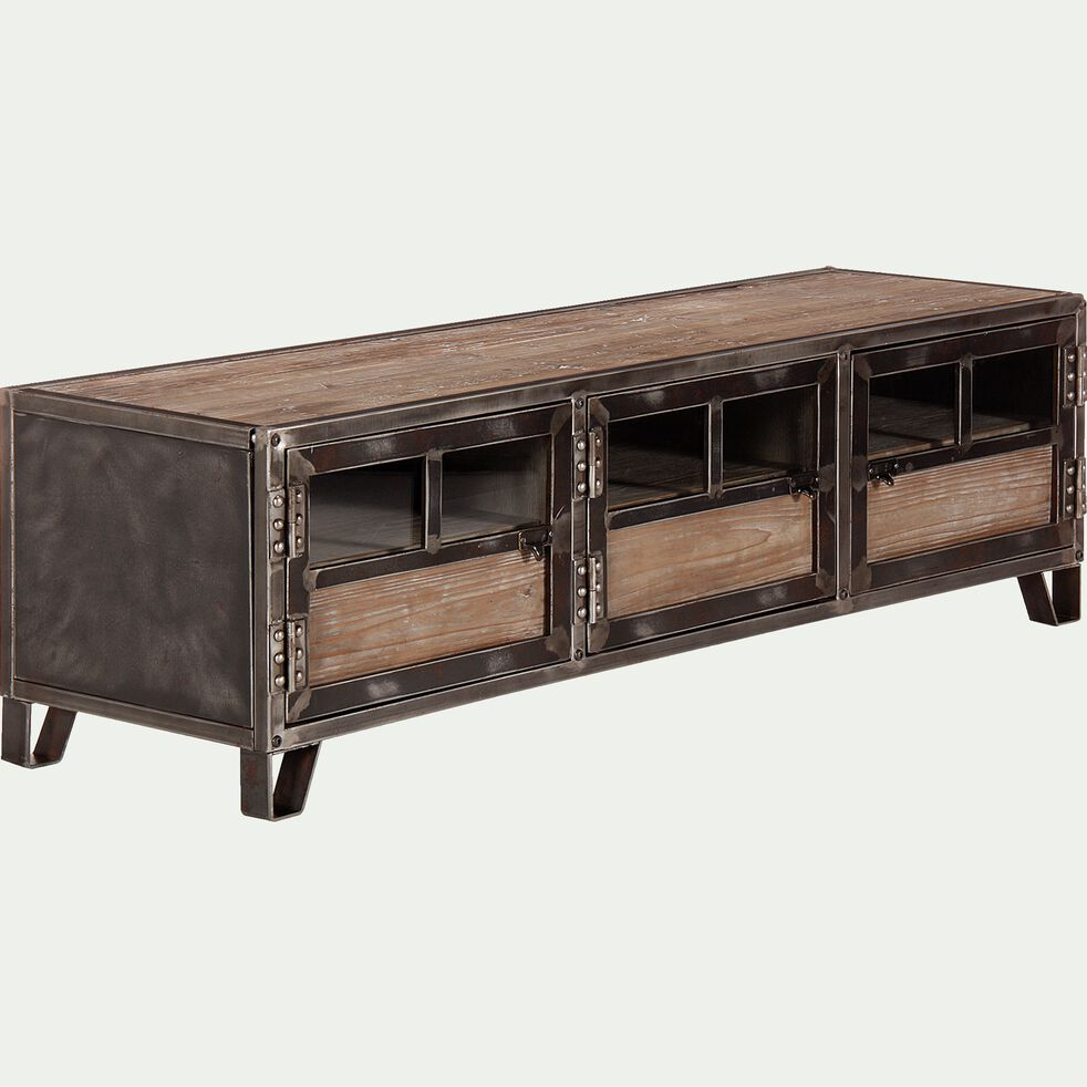 ware meuble tv en pin acier et verre