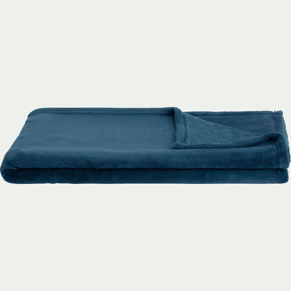 Plaid polaire - 100x100cm bleu figuerolles-AMELIE
