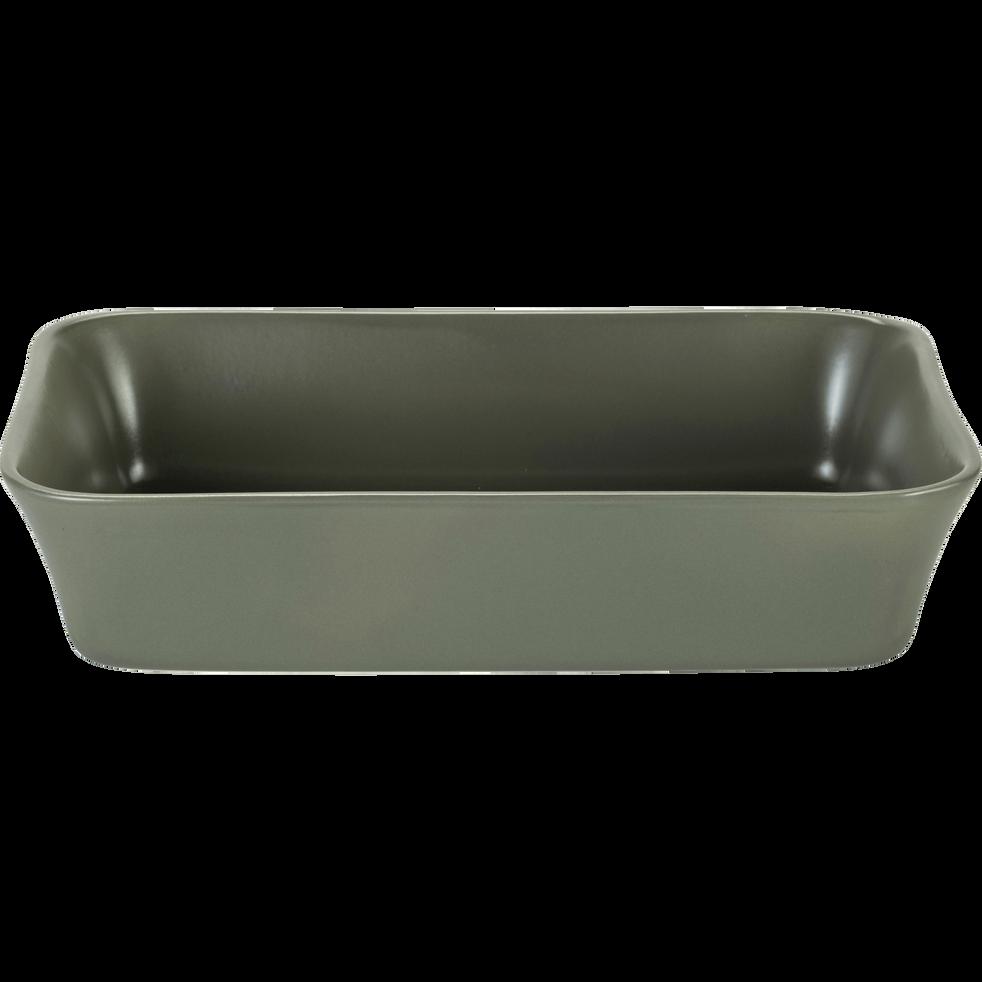 Plat à four rectangulaire en grès vert cèdre 32x20cm-ALVARA
