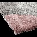 Tapis à poils longs motifs géométriques rose 200x290cm-OSLO