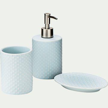 Set de salle de bain en céramique relief - bleu amandier-NARCISSE