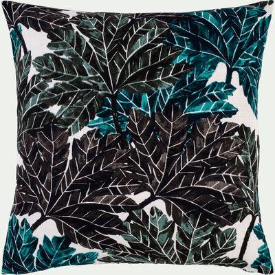 Coussin motif feuillage en lin et coton - vert 45x45cm-CORINTHE