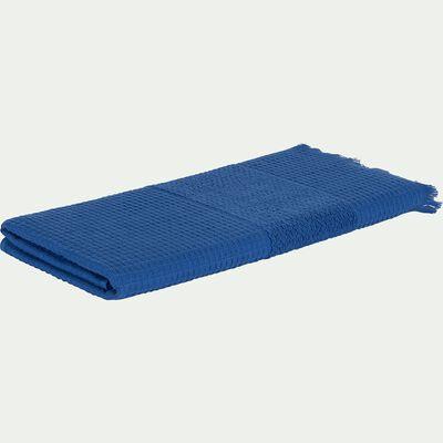 Drap de douche en bouclette de coton - bleu 70x140cm-TOMAR