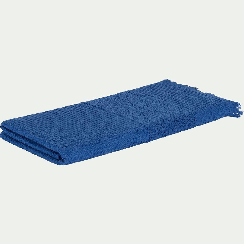 Drap de douche bouclette et nid d'abeille en coton - bleu 70x140cm-TOMAR