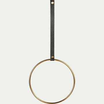 Patère ronde en métal et cuir - doré H54cm-CAMARET