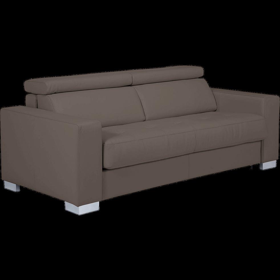 Canapé 3 places fixe en cuir de buffle taupe-Mauro