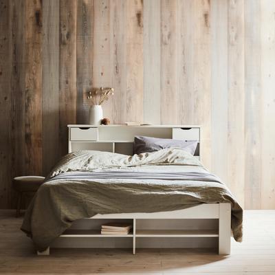 Lit 2 places en pin massif avec tête de lit Blanc- 160x200 cm-NARA