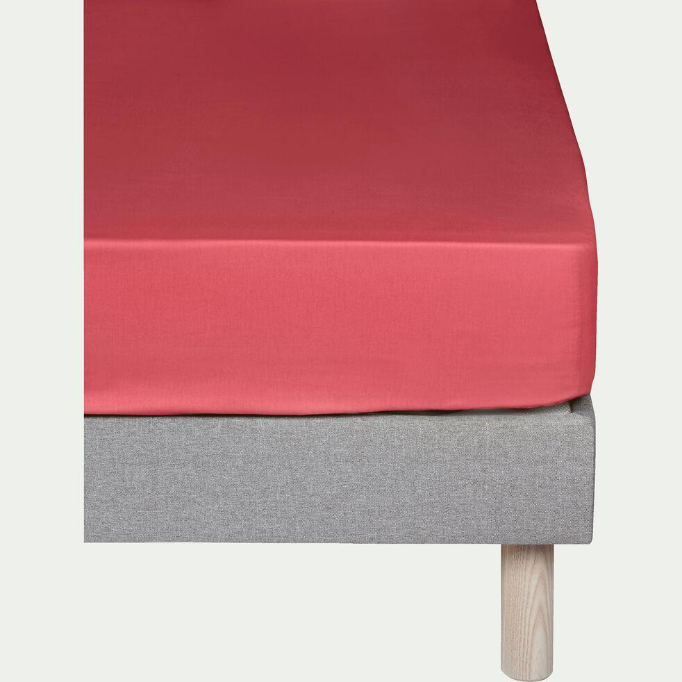 Drap housse en coton - rouge arbouse 140x200cm B30cm-CALANQUES