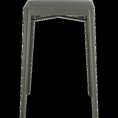 Table haute carrée en métal vert cèdre-TRIVIA