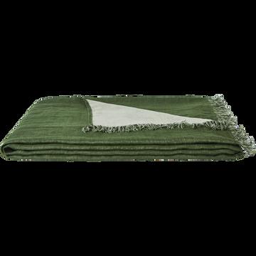 Plaid en lin vert cèdre 105x200cm-JUSTIN