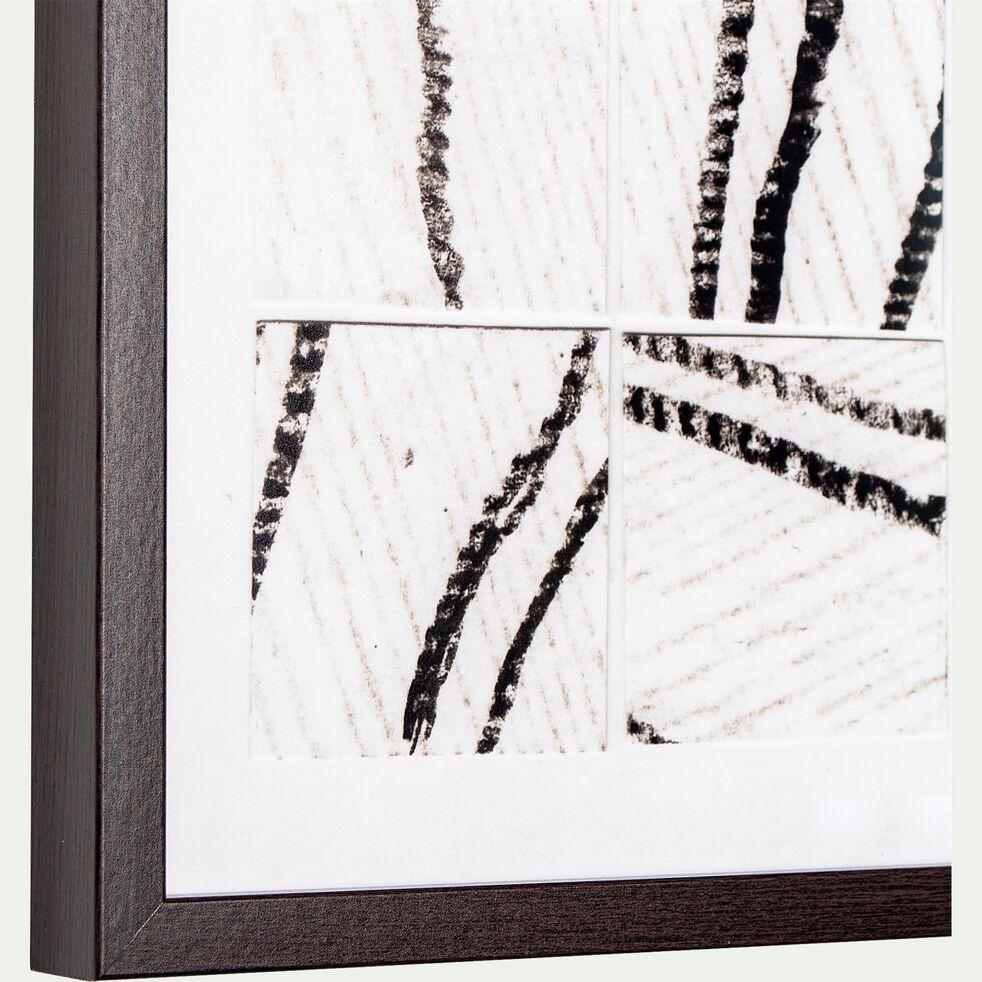 Image encadrée motif abstrait noir et blanc 43x53cm-PENONI