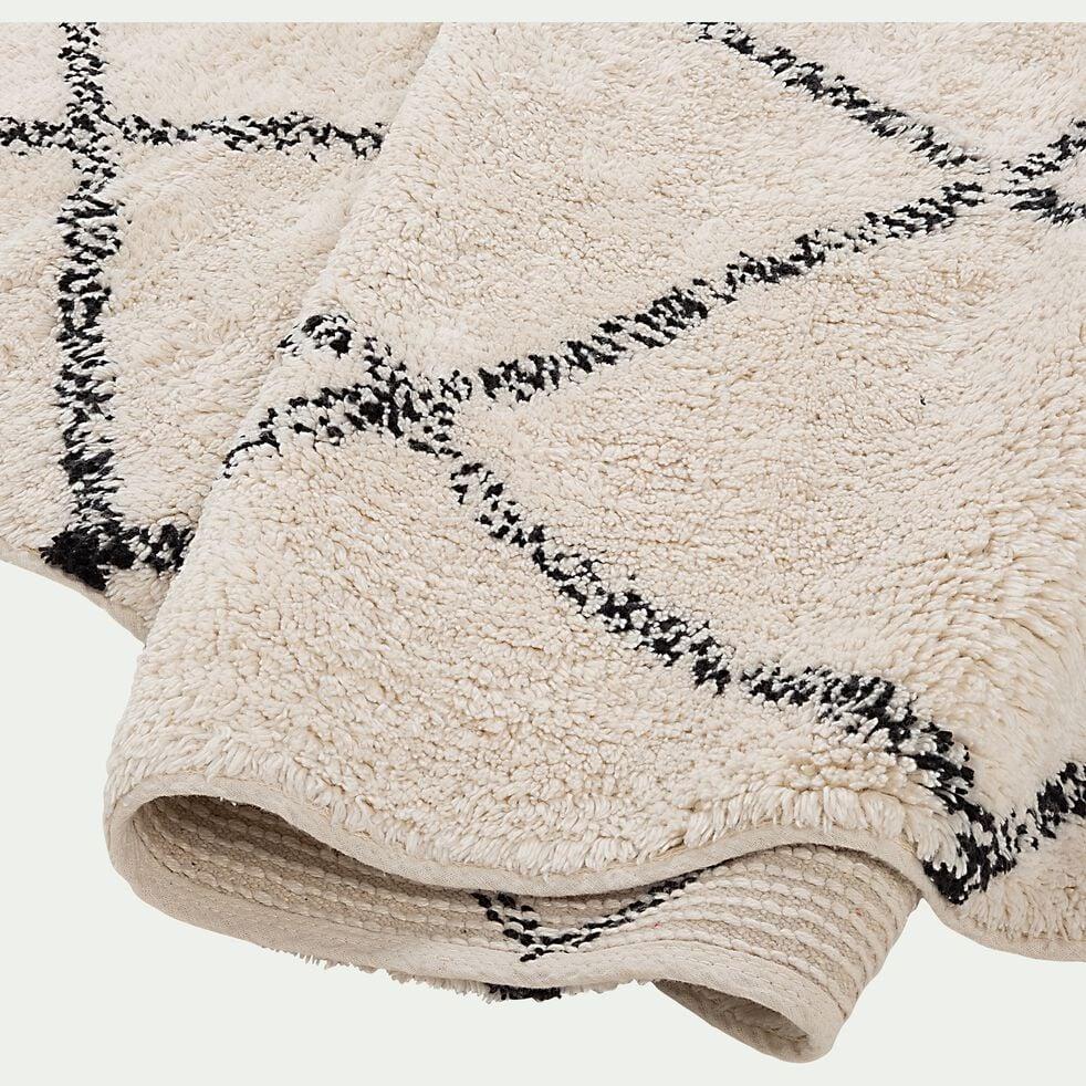 Tapis en coton inspiration berbère - écru et noir 70x110cm-LOSANGE