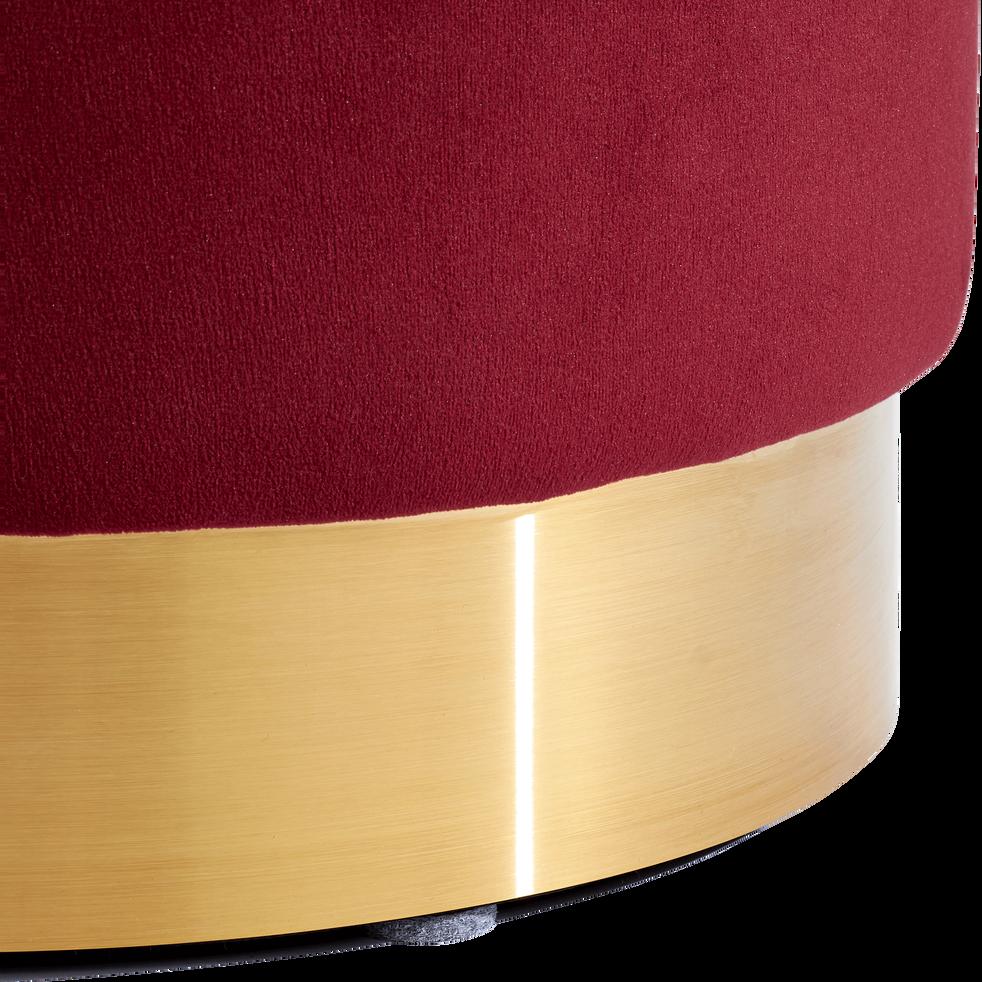 Pouf en velours petit modèle rouge sumac D35cm-AUVE