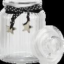 Bonbonnière en verre ruban gris 1L-HELENA