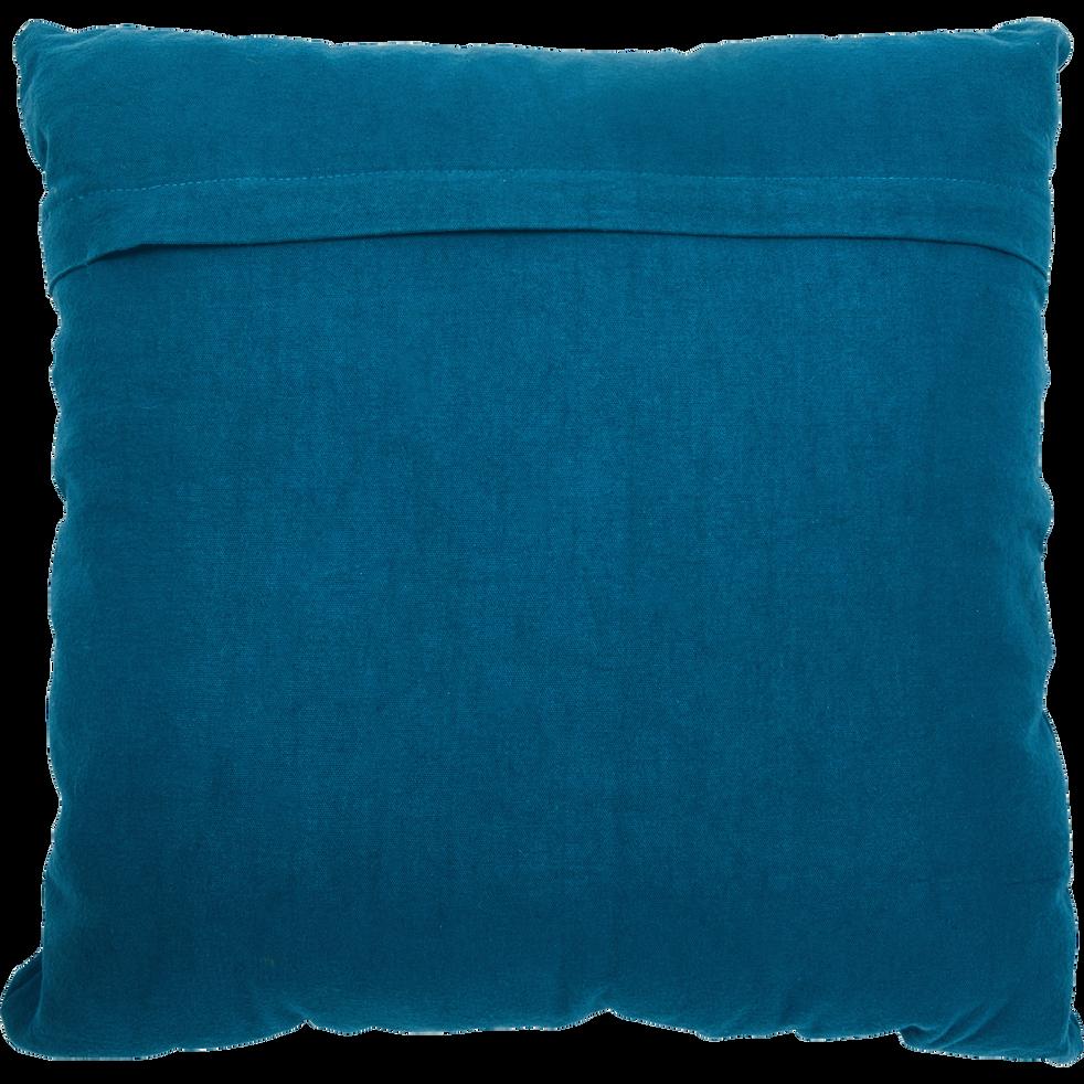 Coussin en coton bleu plissé et brodé 40x40cm-AURORA