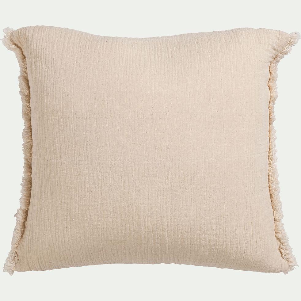 Coussin effet froissé en coton - beige 45x45cm-ANGELE