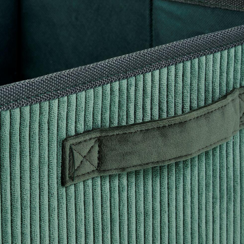 Panier de rangement en velours côtelé - vert H12xL26cm-Vela