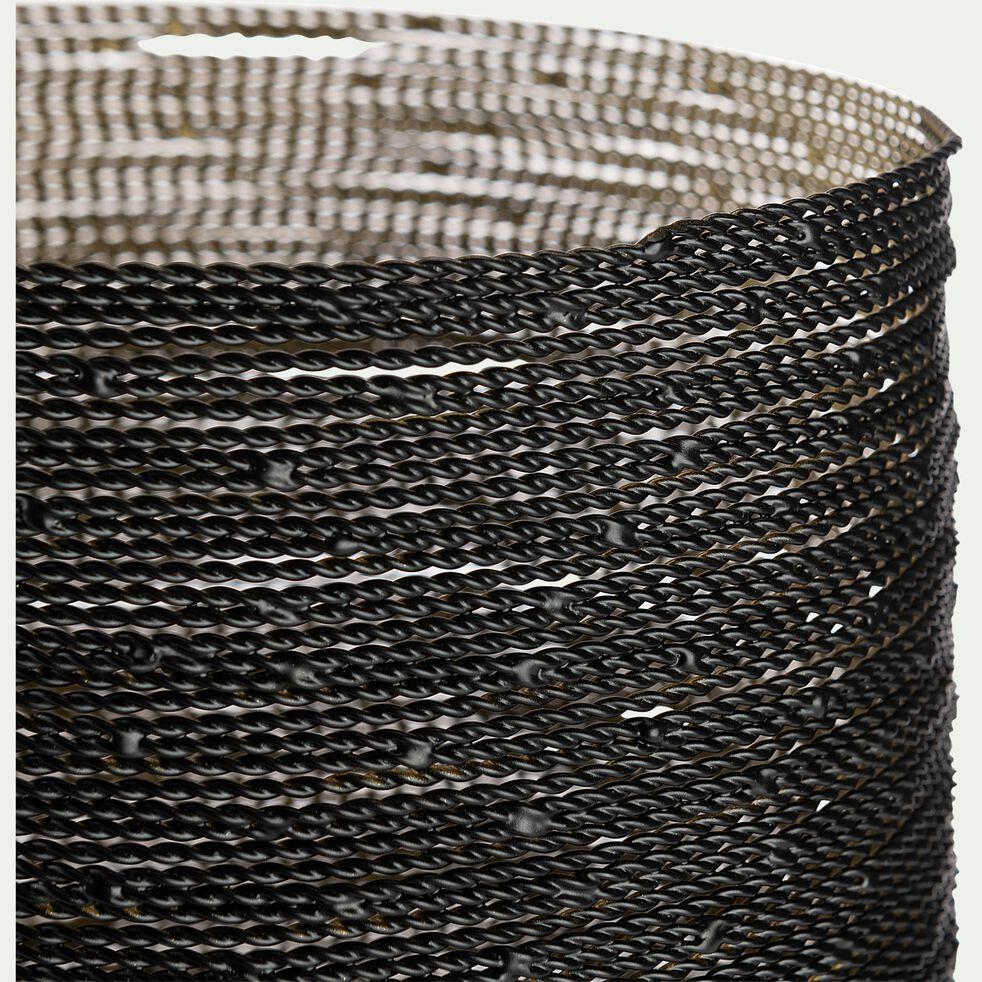 Photophore filaire en métal - noir et doré D15xH16,5cm-MADHOPUR