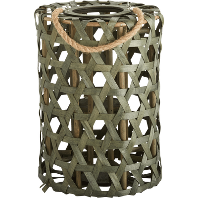 Lanterne en peuplier verte D26x38cm-ANGKOR