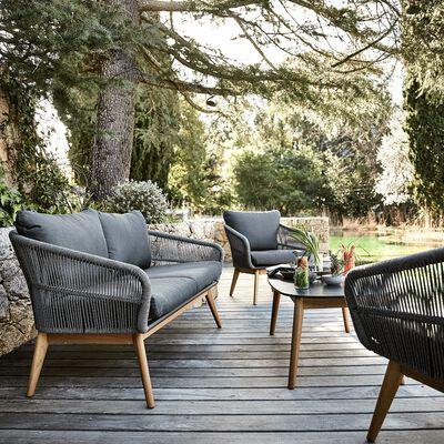 Salon de jardin gris et noir (4 places)-MOUGINS