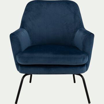 Fauteuil en velours - bleu myrte-MONA