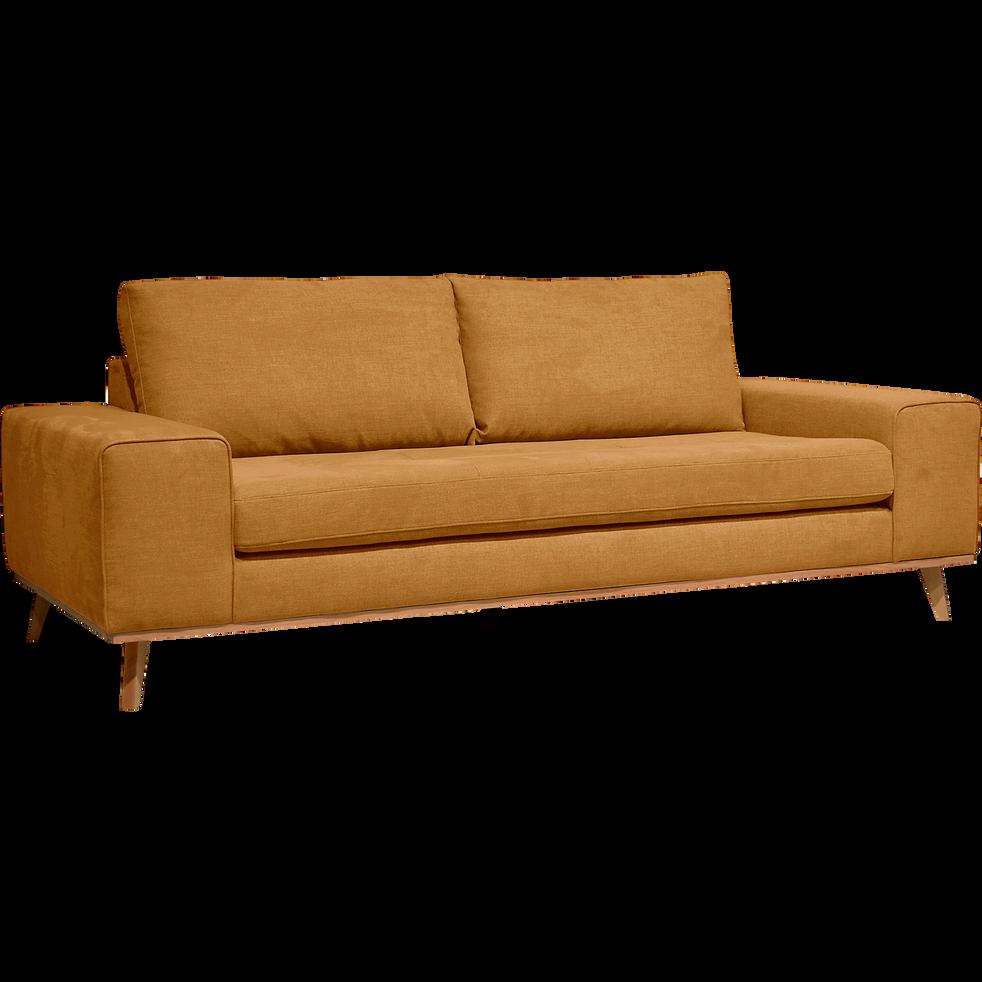 canap 3 places fixe en tissu jaune picabia canap s droits en tissu alinea. Black Bedroom Furniture Sets. Home Design Ideas