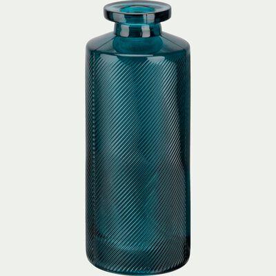 Vase bouteille strié en verre - bleu niolon H13cm-Zante