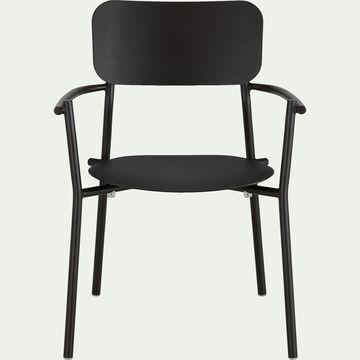 Chaise de jardin avec accoudoirs en aluminium - noir-Matias
