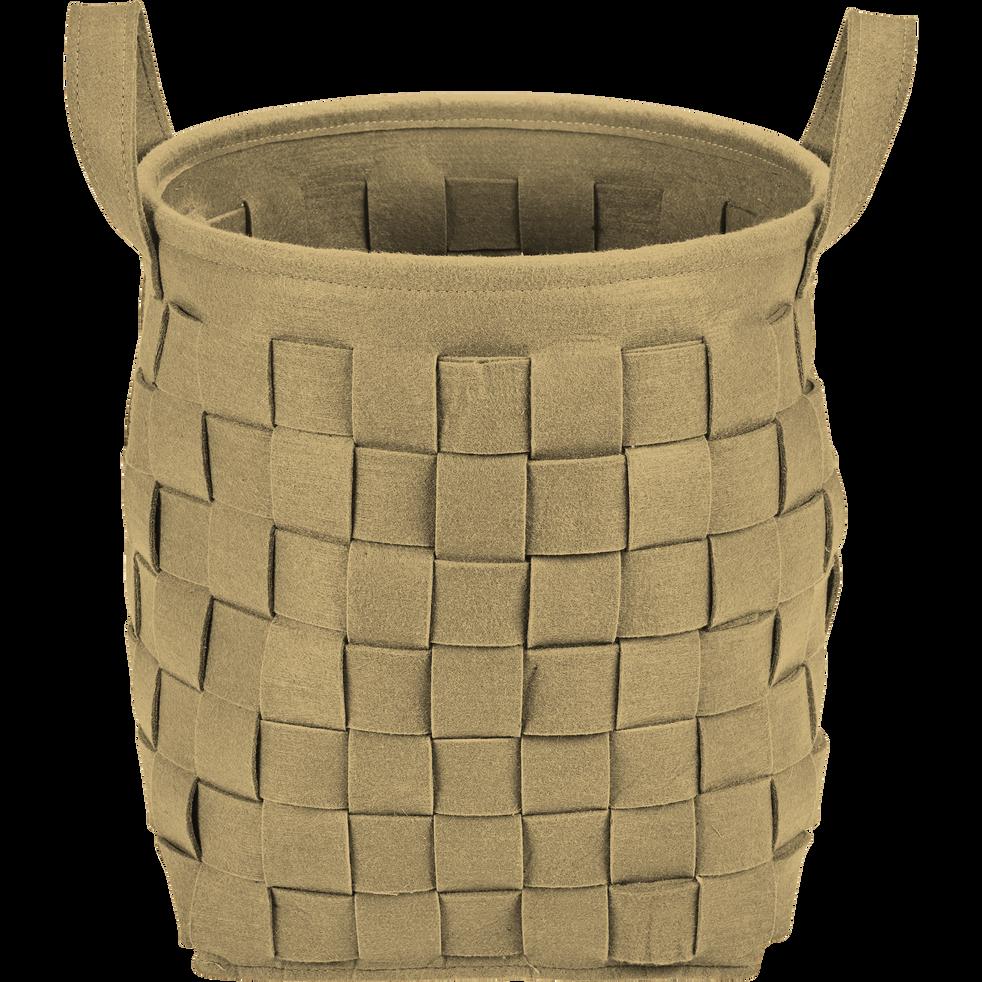 Panier en feutrine rond marron D34 cm-MERCURE