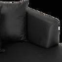 Canapé 5 places fixe droit en cuir noir calabrun-TESSOUN