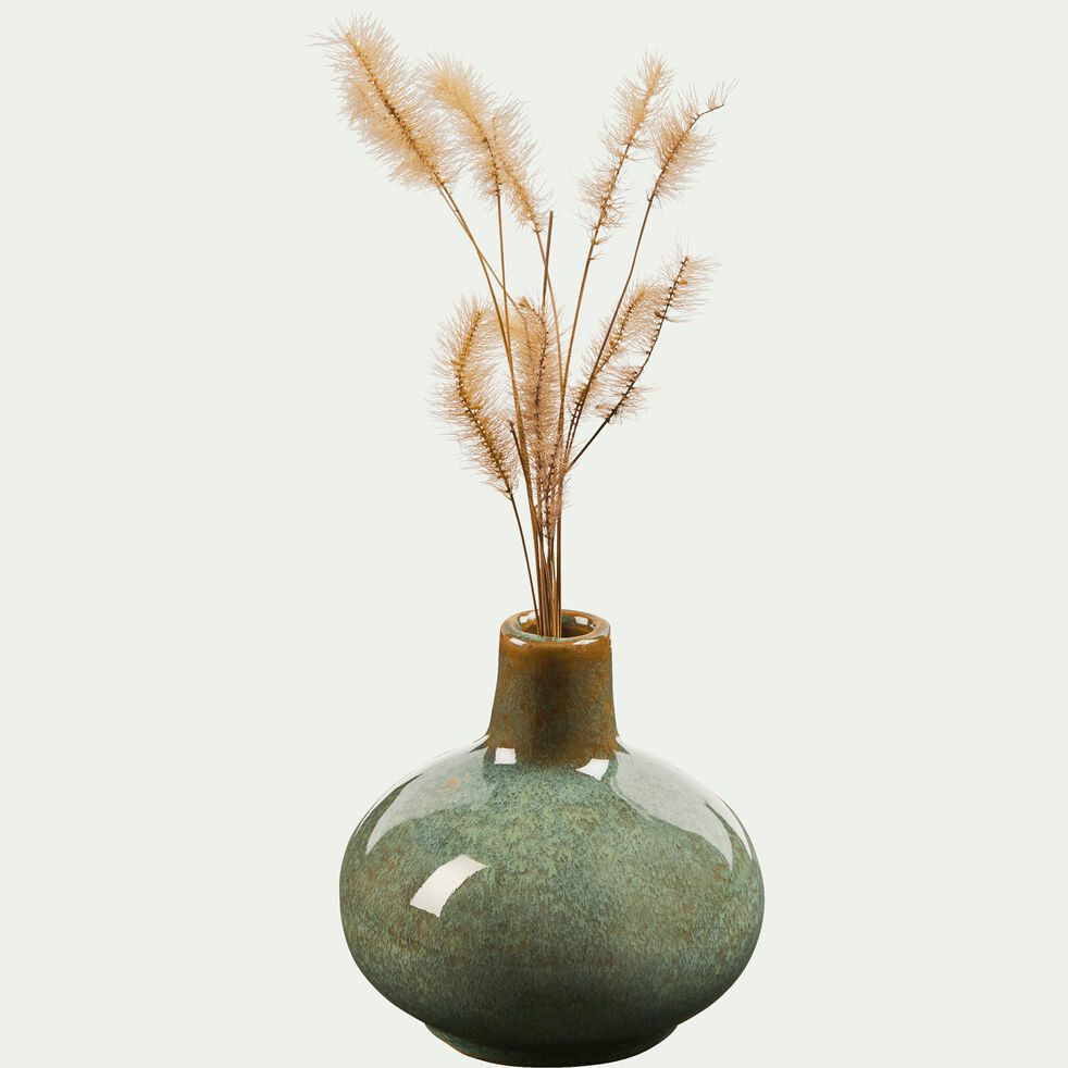 Vase en céramique vert brillant H9cm-AMBRA