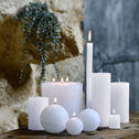 Bougie ronde blanc capelan D8cm-BEJAIA
