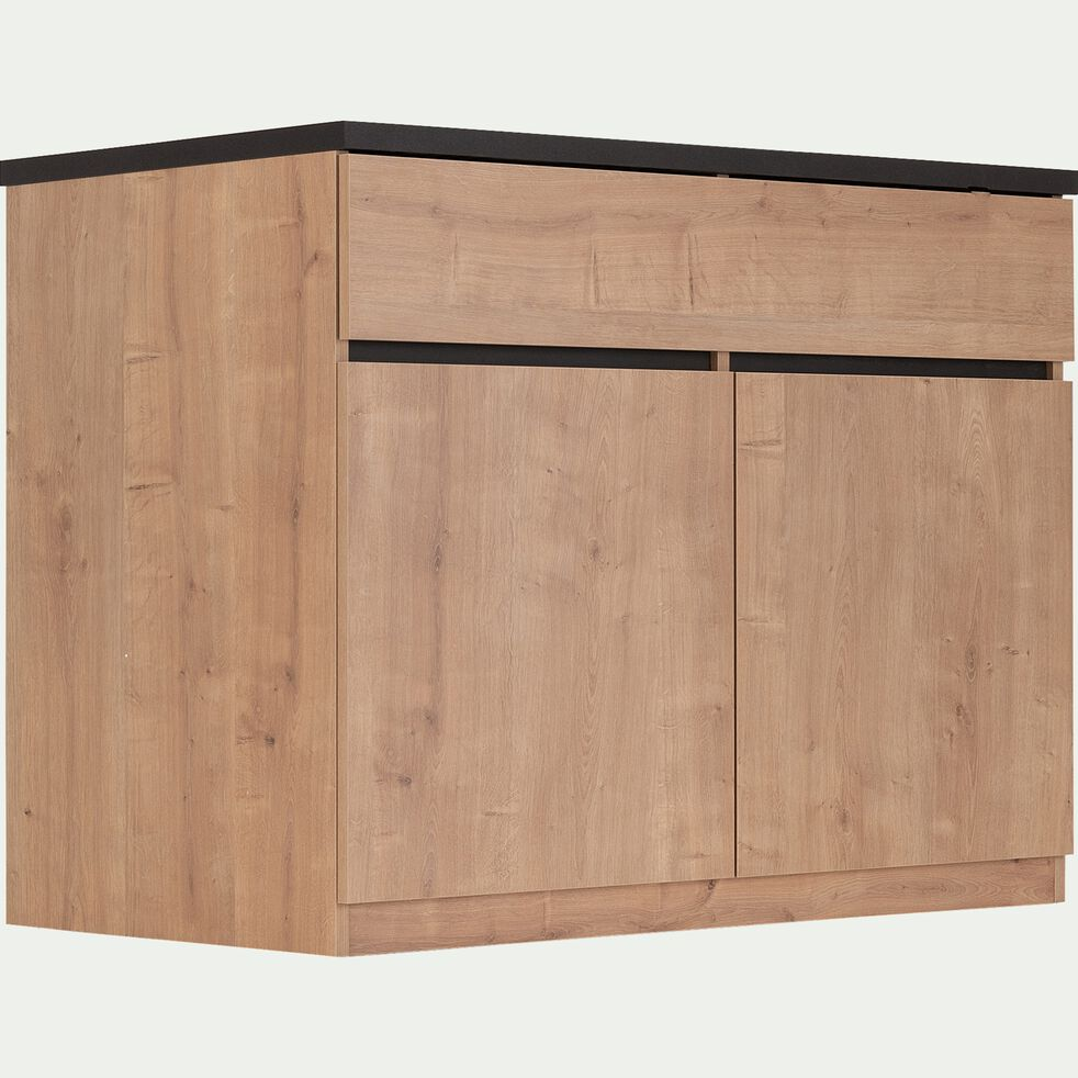Ilot central de cuisine en bois avec rangement réversible L115cm - naturel-GABIN