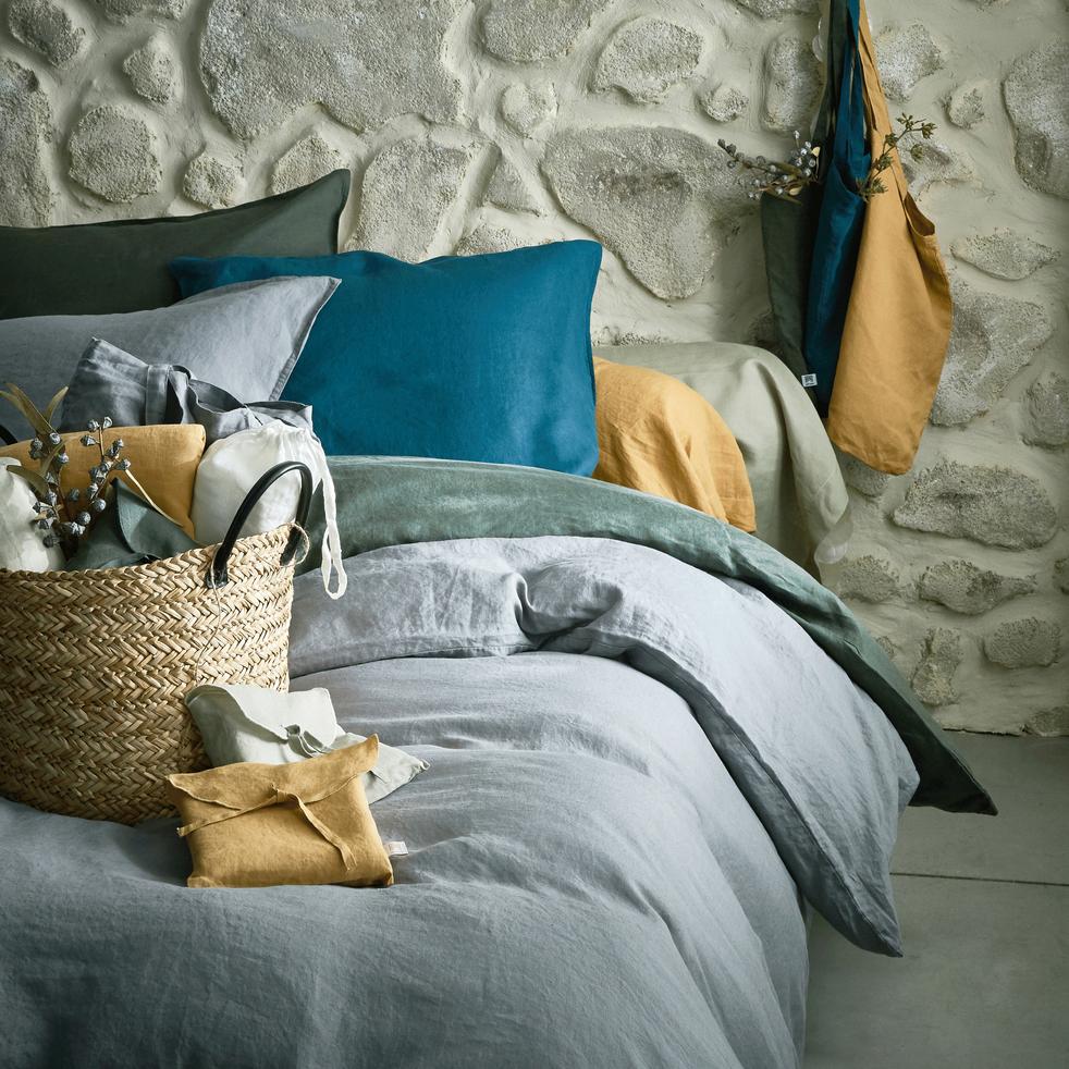 Ensemble linge de lit en lin teintes minérales   LINGE DE LIT LIN