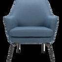 Fauteuil en tissu bleu figuerolles-MONA