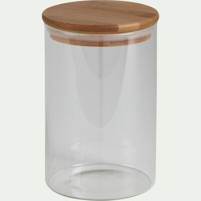 Bocal en verre avec couvercle en bambou 1,1L-BILL