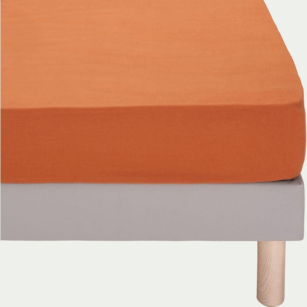 Drap housse en lin - brun rustrel 140x200cm b28-VENCE